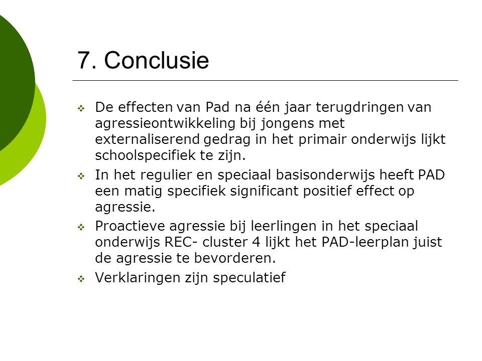 7. Conclusie  De effecten van Pad na één jaar terugdringen van agressieontwikkeling bij jongens met externaliserend gedrag in het primair onderwijs l
