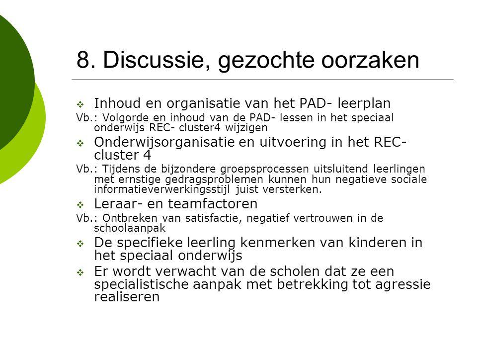 8. Discussie, gezochte oorzaken  Inhoud en organisatie van het PAD- leerplan Vb.: Volgorde en inhoud van de PAD- lessen in het speciaal onderwijs REC