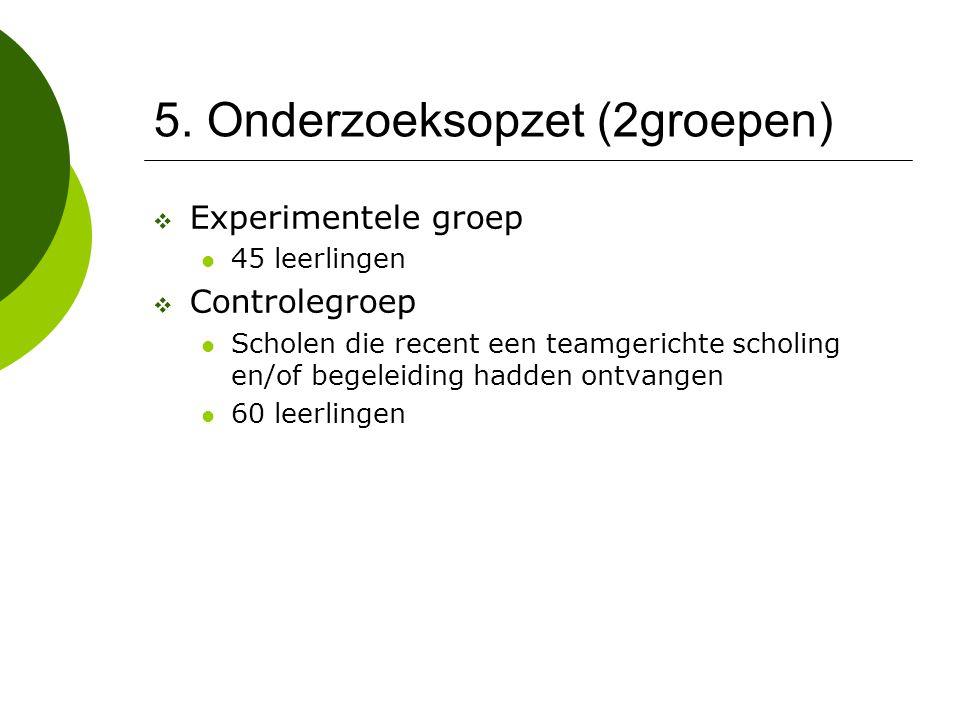 5. Onderzoeksopzet (2groepen)  Experimentele groep 45 leerlingen  Controlegroep Scholen die recent een teamgerichte scholing en/of begeleiding hadde