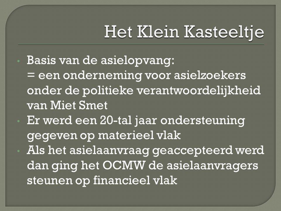 Basis van de asielopvang: = een onderneming voor asielzoekers onder de politieke verantwoordelijkheid van Miet Smet Er werd een 20-tal jaar ondersteun