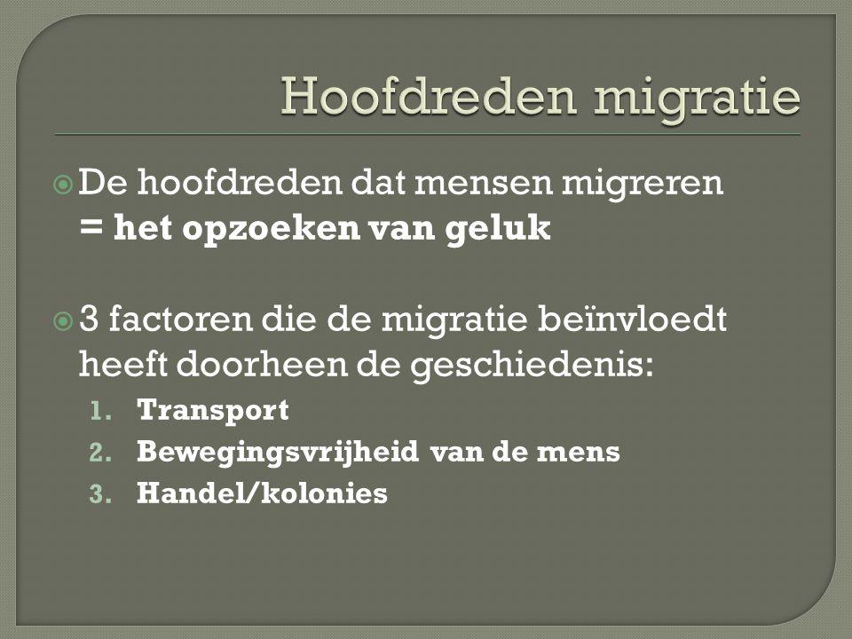  De hoofdreden dat mensen migreren = het opzoeken van geluk  3 factoren die de migratie beïnvloedt heeft doorheen de geschiedenis: 1. Transport 2. B