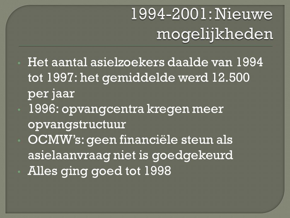 Het aantal asielzoekers daalde van 1994 tot 1997: het gemiddelde werd 12.500 per jaar 1996: opvangcentra kregen meer opvangstructuur OCMW's: geen fina
