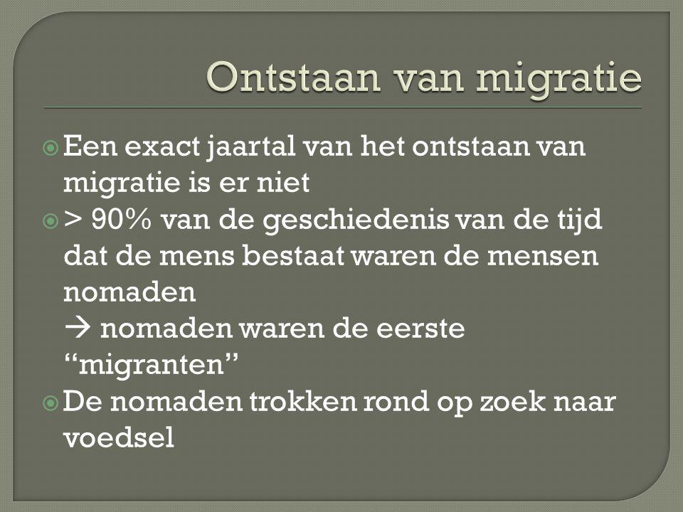  Een exact jaartal van het ontstaan van migratie is er niet  > 90% van de geschiedenis van de tijd dat de mens bestaat waren de mensen nomaden  nom