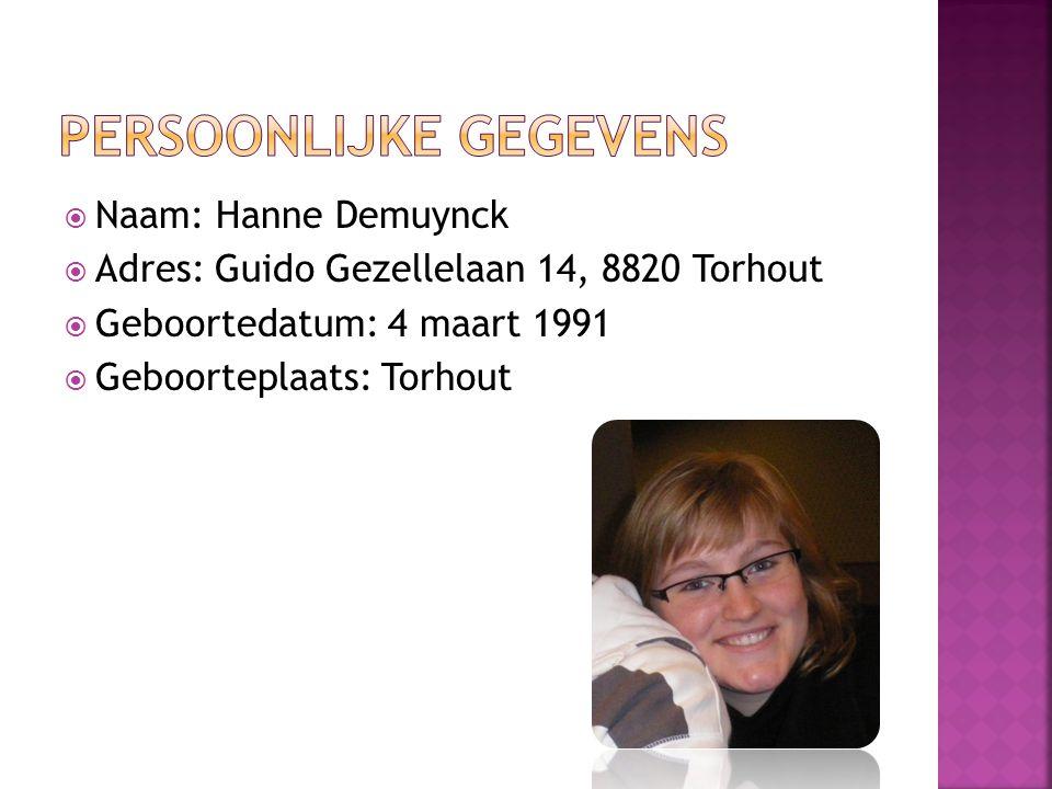  Naam: Hanne Demuynck  Adres: Guido Gezellelaan 14, 8820 Torhout  Geboortedatum: 4 maart 1991  Geboorteplaats: Torhout