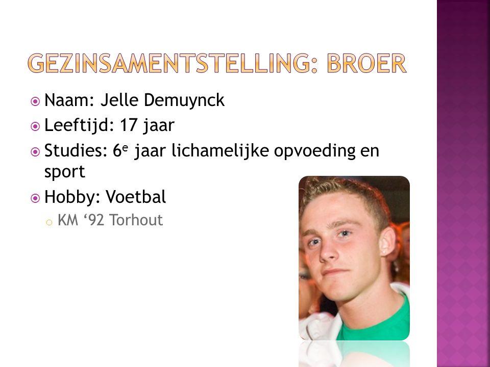  Naam: Jelle Demuynck  Leeftijd: 17 jaar  Studies: 6 e jaar lichamelijke opvoeding en sport  Hobby: Voetbal o KM '92 Torhout