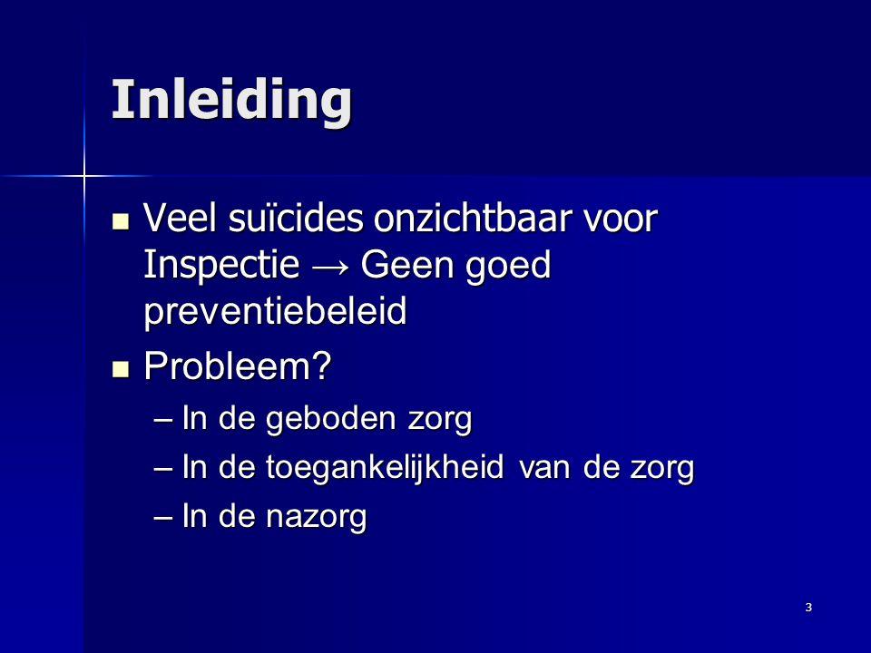 3 Inleiding Veel suïcides onzichtbaar voor Inspectie → Geen goed preventiebeleid Veel suïcides onzichtbaar voor Inspectie → Geen goed preventiebeleid Probleem.