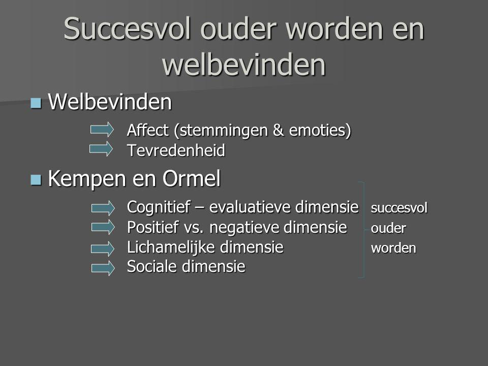 Succesvol ouder worden en welbevinden Welbevinden Affect (stemmingen & emoties) Tevredenheid Welbevinden Affect (stemmingen & emoties) Tevredenheid Kempen en Ormel Cognitief – evaluatieve dimensie succesvol Positief vs.
