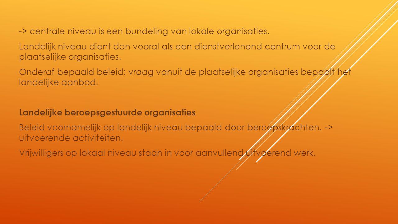 -> centrale niveau is een bundeling van lokale organisaties.