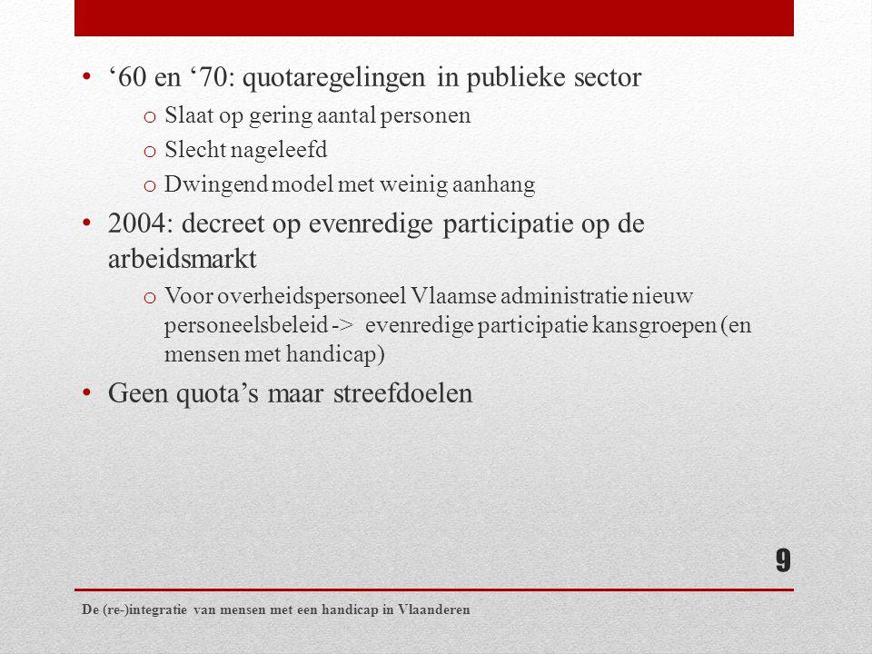 '60 en '70: quotaregelingen in publieke sector o Slaat op gering aantal personen o Slecht nageleefd o Dwingend model met weinig aanhang 2004: decreet op evenredige participatie op de arbeidsmarkt o Voor overheidspersoneel Vlaamse administratie nieuw personeelsbeleid -> evenredige participatie kansgroepen (en mensen met handicap) Geen quota's maar streefdoelen De (re-)integratie van mensen met een handicap in Vlaanderen 9