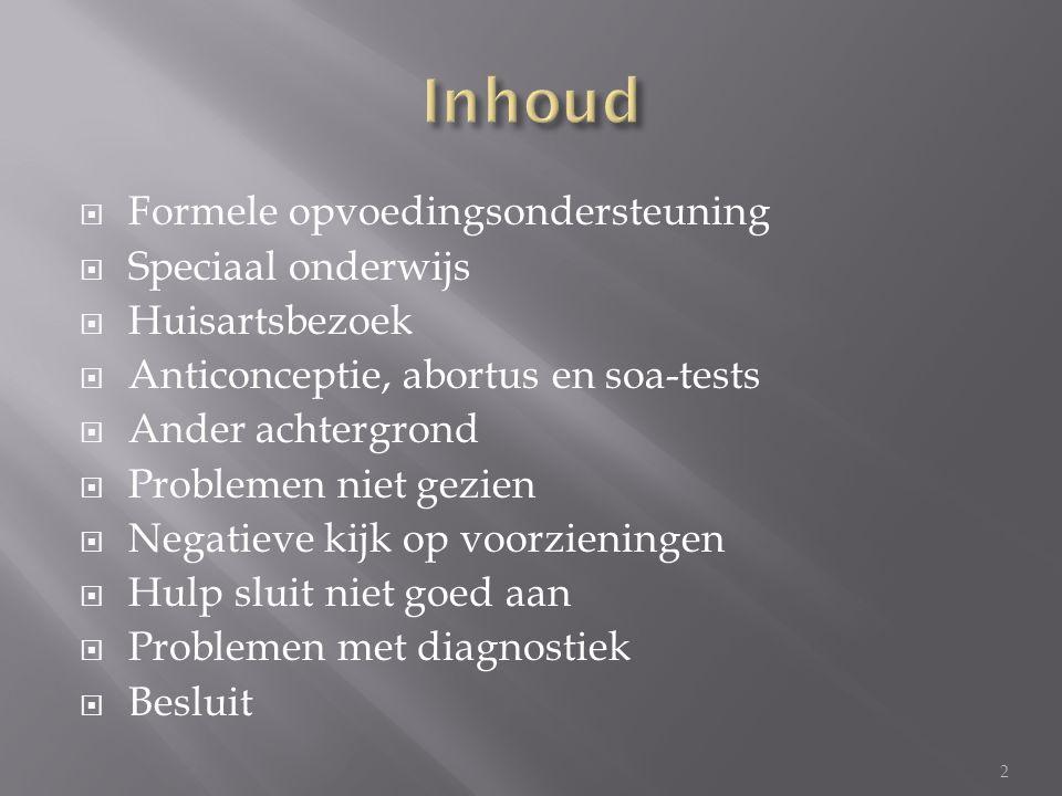  Onder zoek door SCP in 2007  Enkel bij personen die Nederlands spreken  Minder positieve opvoedingbeleving  Meer psychosociale problemen  Zoeken weinig hulp opvoed- en opgroeiproblemen 3