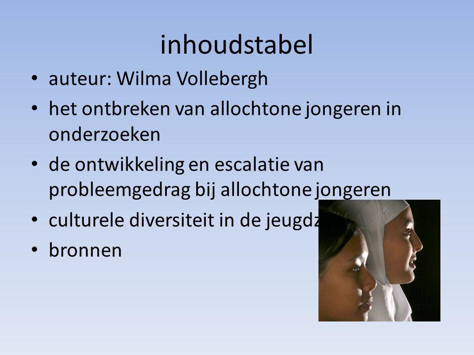inhoudstabel auteur: Wilma Vollebergh het ontbreken van allochtone jongeren in onderzoeken de ontwikkeling en escalatie van probleemgedrag bij allocht