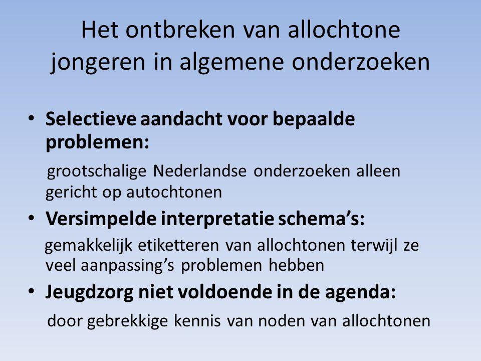 Het ontbreken van allochtone jongeren in algemene onderzoeken Selectieve aandacht voor bepaalde problemen: grootschalige Nederlandse onderzoeken allee
