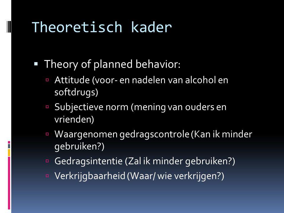 Theoretisch kader  Theory of planned behavior:  Attitude (voor- en nadelen van alcohol en softdrugs)  Subjectieve norm (mening van ouders en vrienden)  Waargenomen gedragscontrole (Kan ik minder gebruiken?)  Gedragsintentie (Zal ik minder gebruiken?)  Verkrijgbaarheid (Waar/ wie verkrijgen?)