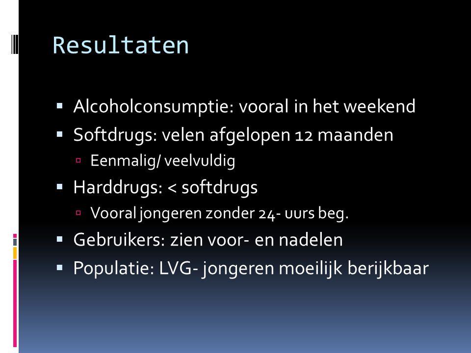 Resultaten  Alcoholconsumptie: vooral in het weekend  Softdrugs: velen afgelopen 12 maanden  Eenmalig/ veelvuldig  Harddrugs: < softdrugs  Vooral jongeren zonder 24- uurs beg.