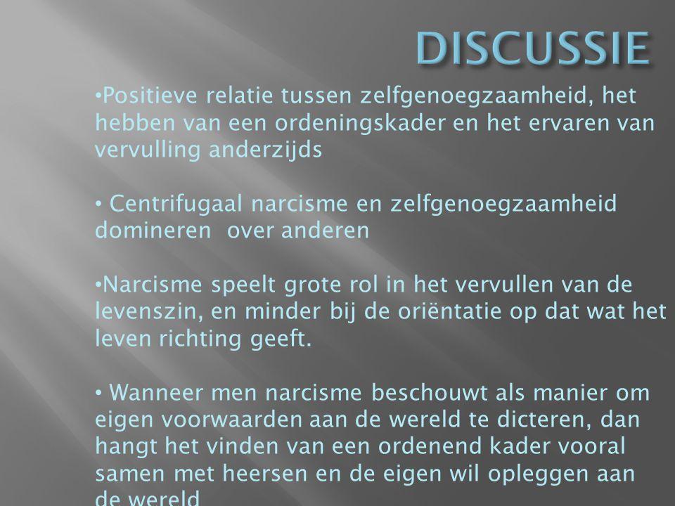 Tabel 1: Narcisme en zinervaring hangen in hun verschillende dimensies vaak samen (overzicht gegeven van de samenhangen aan de hand van een correlatie