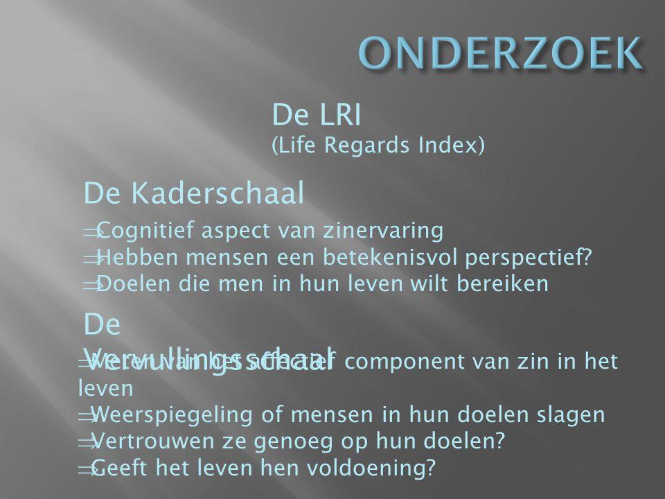 De LRI (Life Regards Index) De Kaderschaal  Cognitief aspect van zinervaring  Hebben mensen een betekenisvol perspectief.