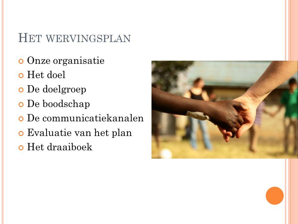 H ET WERVINGSPLAN Onze organisatie Het doel De doelgroep De boodschap De communicatiekanalen Evaluatie van het plan Het draaiboek