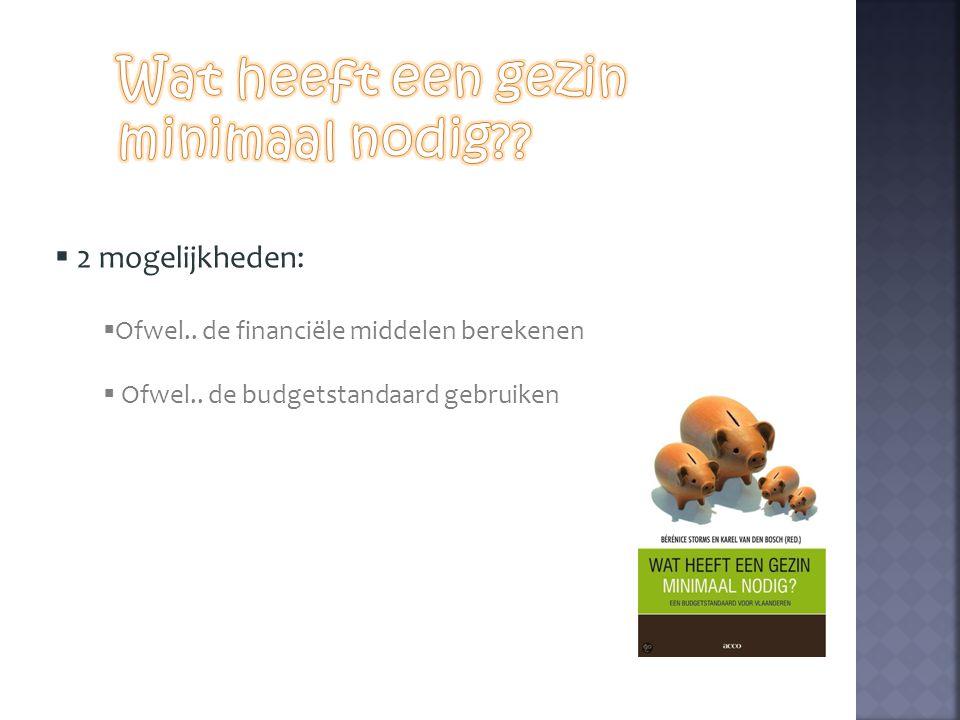  2 mogelijkheden:  Ofwel.. de financiële middelen berekenen  Ofwel.. de budgetstandaard gebruiken