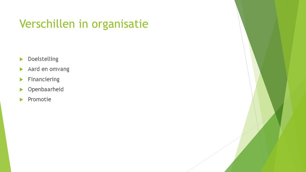 Verschillen in organisatie  Doelstelling  Aard en omvang  Financiering  Openbaarheid  Promotie