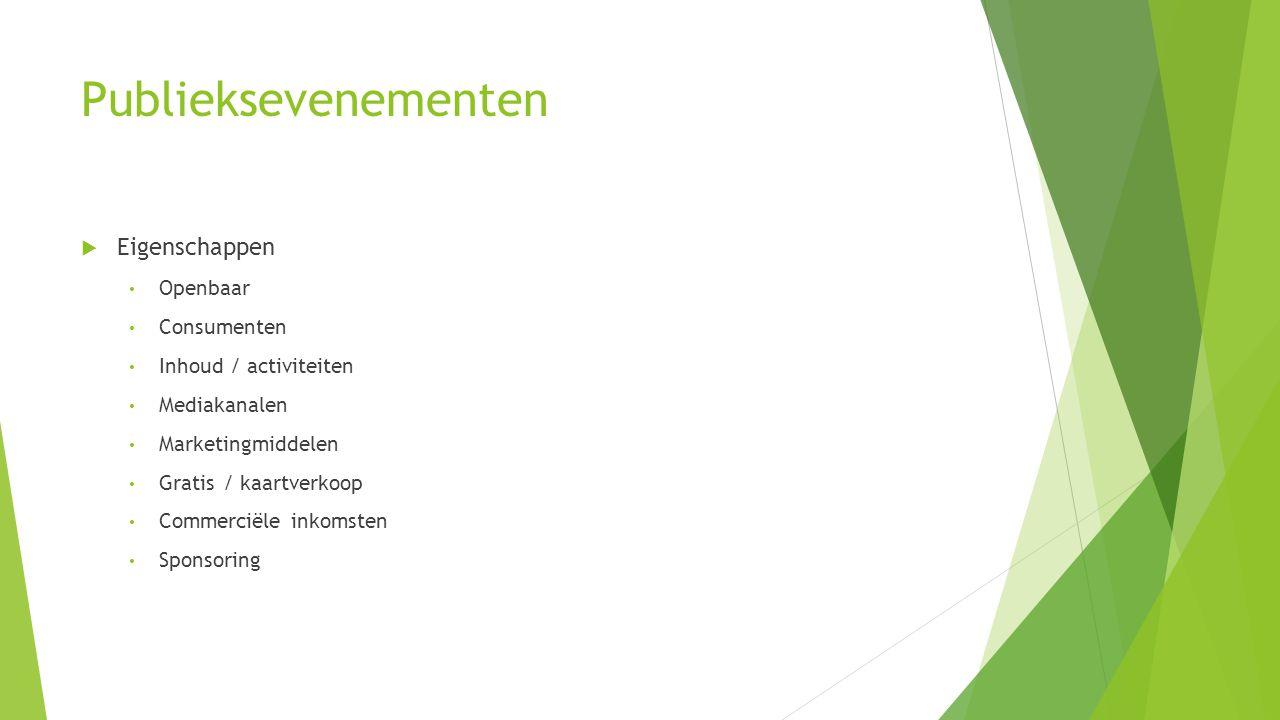 Publieksevenementen  Eigenschappen Openbaar Consumenten Inhoud / activiteiten Mediakanalen Marketingmiddelen Gratis / kaartverkoop Commerciële inkoms