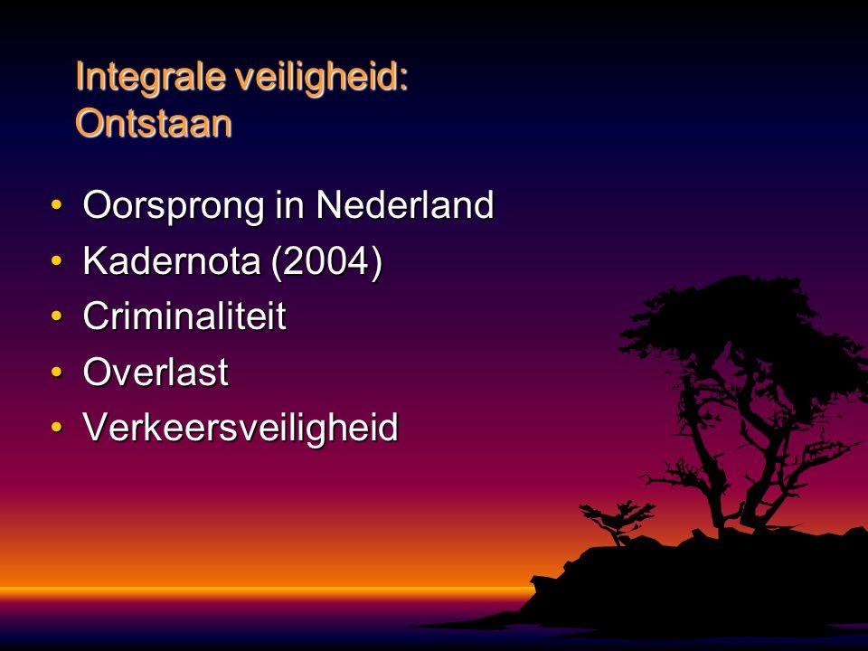 Oorsprong in NederlandOorsprong in Nederland Kadernota (2004)Kadernota (2004) CriminaliteitCriminaliteit OverlastOverlast VerkeersveiligheidVerkeersve