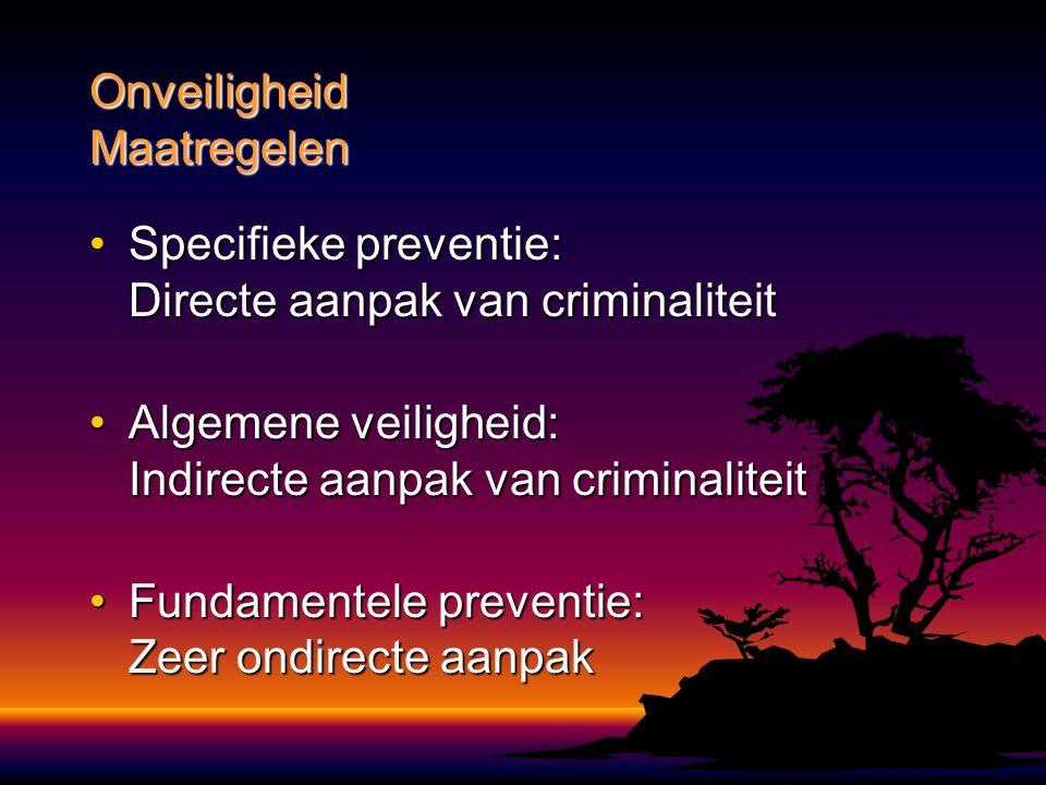 Specifieke preventie: Directe aanpak van criminaliteitSpecifieke preventie: Directe aanpak van criminaliteit Algemene veiligheid: Indirecte aanpak van