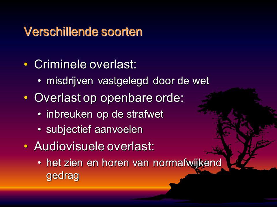 Criminele overlast:Criminele overlast: misdrijven vastgelegd door de wetmisdrijven vastgelegd door de wet Overlast op openbare orde:Overlast op openba