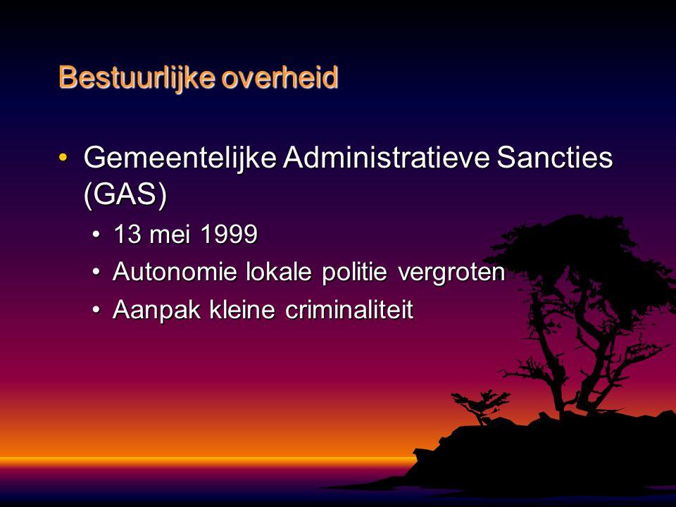 Gemeentelijke Administratieve Sancties (GAS)Gemeentelijke Administratieve Sancties (GAS) 13 mei 199913 mei 1999 Autonomie lokale politie vergrotenAuto