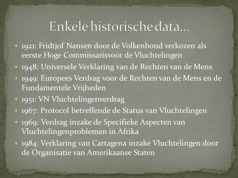 1921: Fridtjof Nansen door de Volkenbond verkozen als eerste Hoge Commissarisvoor de Vluchtelingen 1948: Universele Verklaring van de Rechten van de Mens 1949: Europees Verdrag voor de Rechten van de Mens en de Fundamentele Vrijheden 1951: VN Vluchtelingenverdrag 1967: Protocol betreffende de Status van Vluchtelingen 1969: Verdrag inzake de Specifieke Aspecten van Vluchtelingenproblemen in Afrika 1984: Verklaring van Cartagena inzake Vluchtelingen door de Organisatie van Amerikaanse Staten