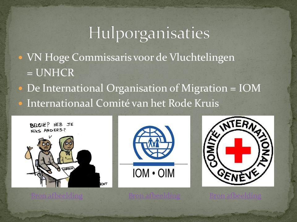 VN Hoge Commissaris voor de Vluchtelingen = UNHCR De International Organisation of Migration = IOM Internationaal Comité van het Rode Kruis Bron afbeelding