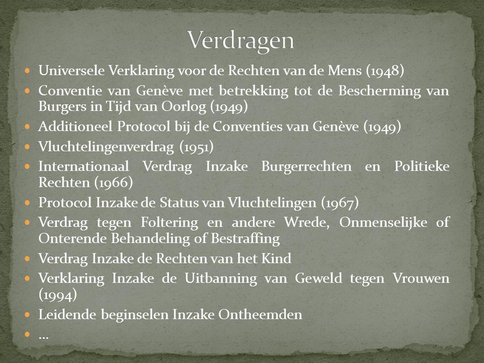 Universele Verklaring voor de Rechten van de Mens (1948) Conventie van Genève met betrekking tot de Bescherming van Burgers in Tijd van Oorlog (1949) Additioneel Protocol bij de Conventies van Genève (1949) Vluchtelingenverdrag (1951) Internationaal Verdrag Inzake Burgerrechten en Politieke Rechten (1966) Protocol Inzake de Status van Vluchtelingen (1967) Verdrag tegen Foltering en andere Wrede, Onmenselijke of Onterende Behandeling of Bestraffing Verdrag Inzake de Rechten van het Kind Verklaring Inzake de Uitbanning van Geweld tegen Vrouwen (1994) Leidende beginselen Inzake Ontheemden …