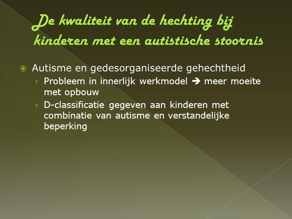  Autisme en gedesorganiseerde gehechtheid › Probleem in innerlijk werkmodel  meer moeite met opbouw › D-classificatie gegeven aan kinderen met combi