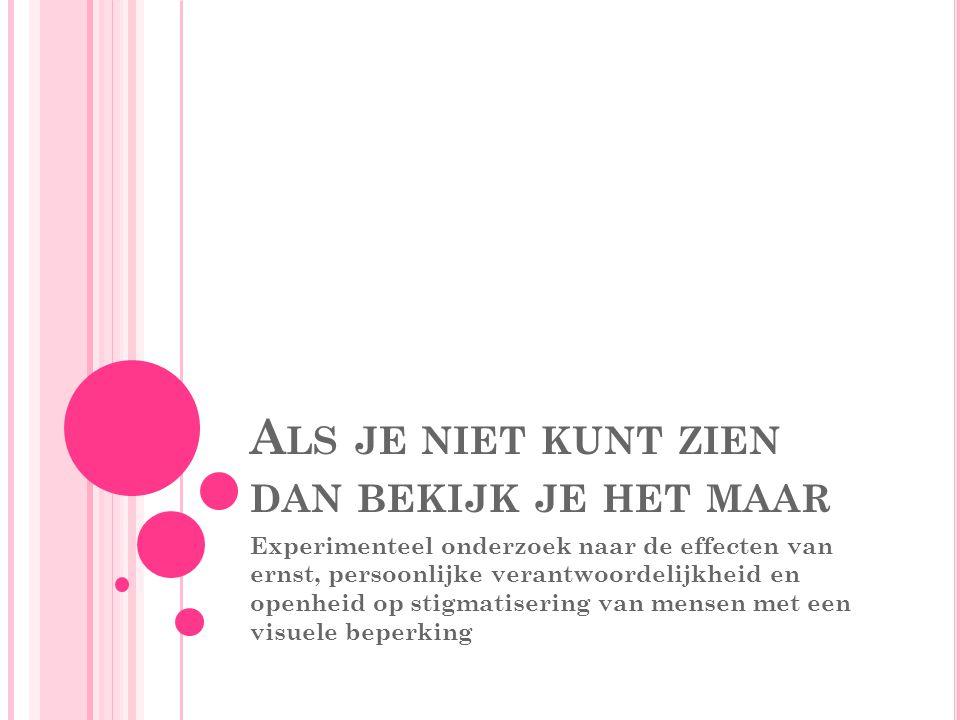 INLEIDING Nederland: 360.000 mensen met een ernstig visuele beperking 60.000 van hen zijn blind, overig slechtziend Kwart van de gezichtsbeperking: bij geboorte aanwezig Ouder worden -> kans op krijgen van een visuele beperking neemt sterk toe + 65: 3 op 10 personen met visuele beperking -> dagelijks leven wordt bemoeilijkt