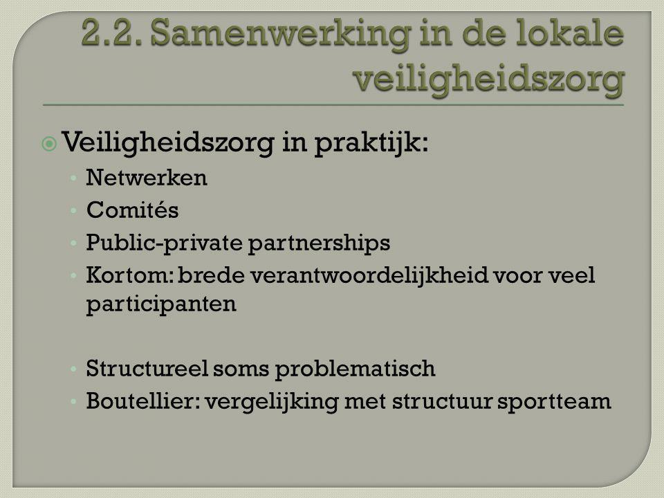 Veiligheidszorg in praktijk: Netwerken Comités Public-private partnerships Kortom: brede verantwoordelijkheid voor veel participanten Structureel so