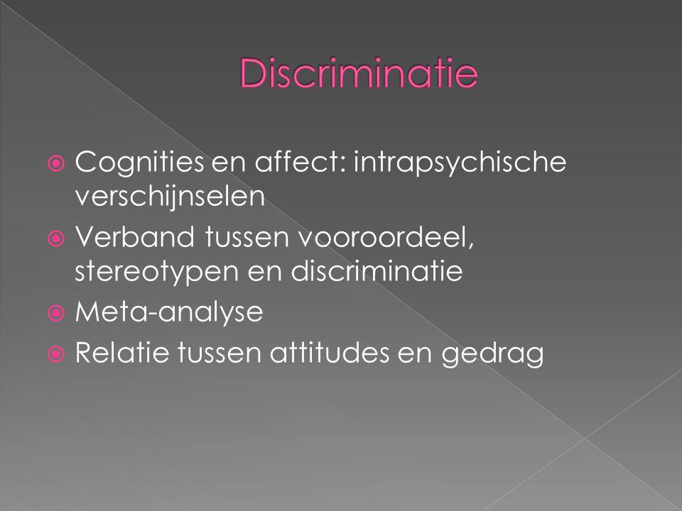  Cognities en affect: intrapsychische verschijnselen  Verband tussen vooroordeel, stereotypen en discriminatie  Meta-analyse  Relatie tussen attit