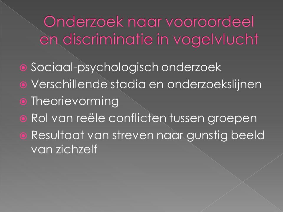  Sociaal-psychologisch onderzoek  Verschillende stadia en onderzoekslijnen  Theorievorming  Rol van reële conflicten tussen groepen  Resultaat va