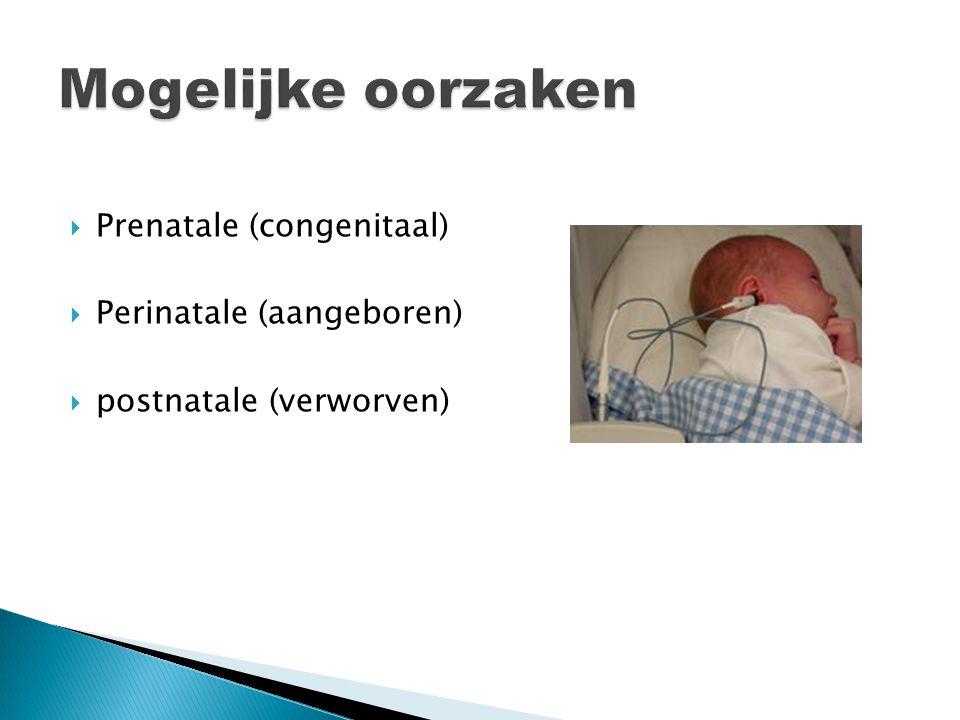  Prenatale (congenitaal)  Perinatale (aangeboren)  postnatale (verworven)