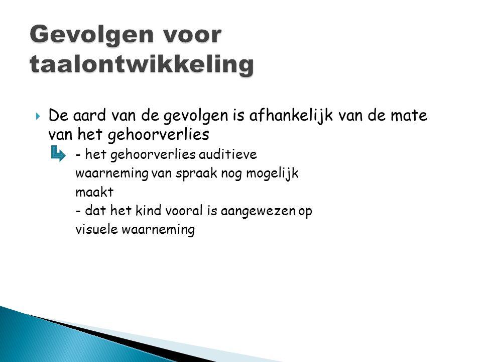  Bij slechthorigheid - vertraagde verwerving van het Nederlands.