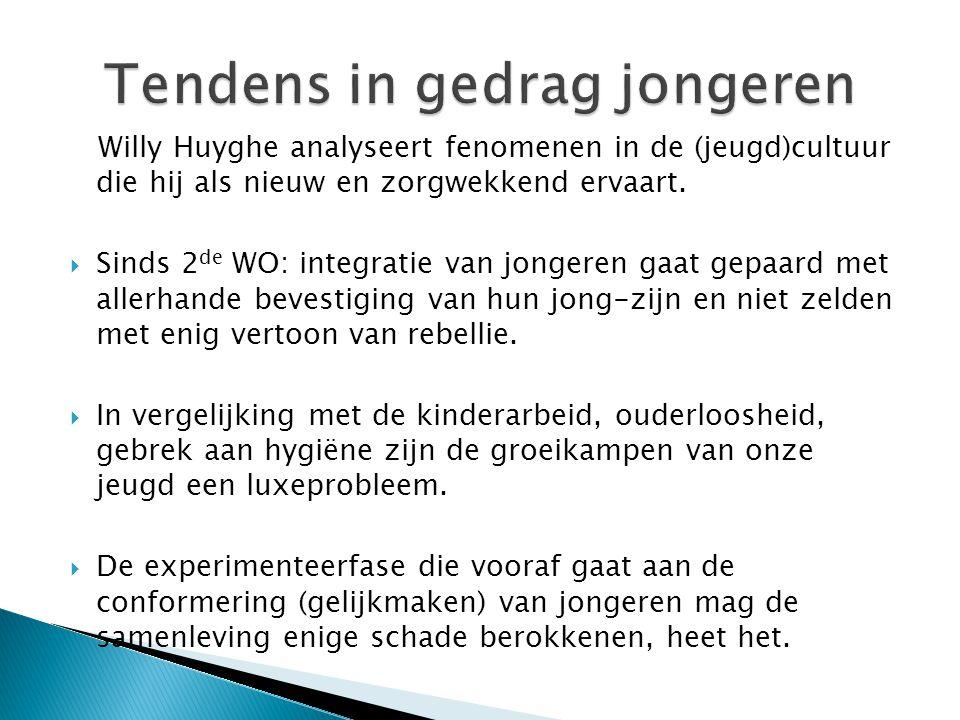 Willy Huyghe analyseert fenomenen in de (jeugd)cultuur die hij als nieuw en zorgwekkend ervaart.  Sinds 2 de WO: integratie van jongeren gaat gepaard