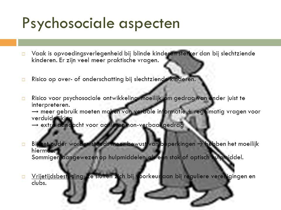 Psychosociale aspecten  Vaak is opvoedingsverlegenheid bij blinde kinderen sterker dan bij slechtziende kinderen. Er zijn veel meer praktische vragen