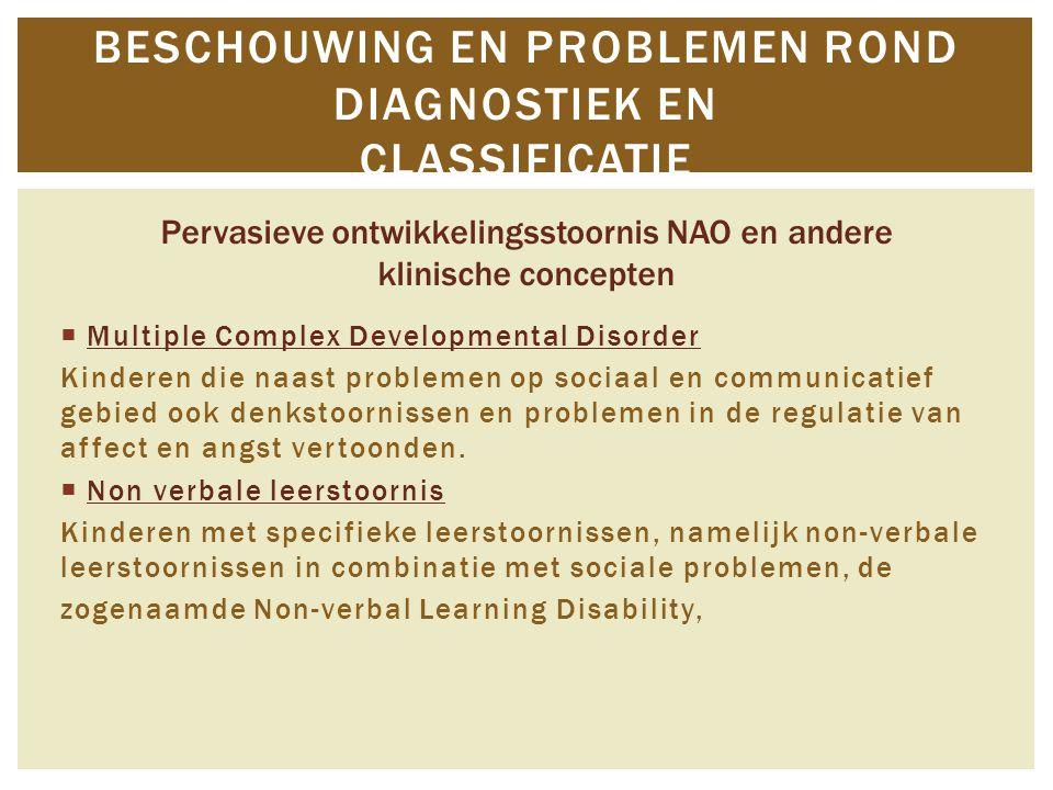 Multiple Complex Developmental Disorder Kinderen die naast problemen op sociaal en communicatief gebied ook denkstoornissen en problemen in de regul