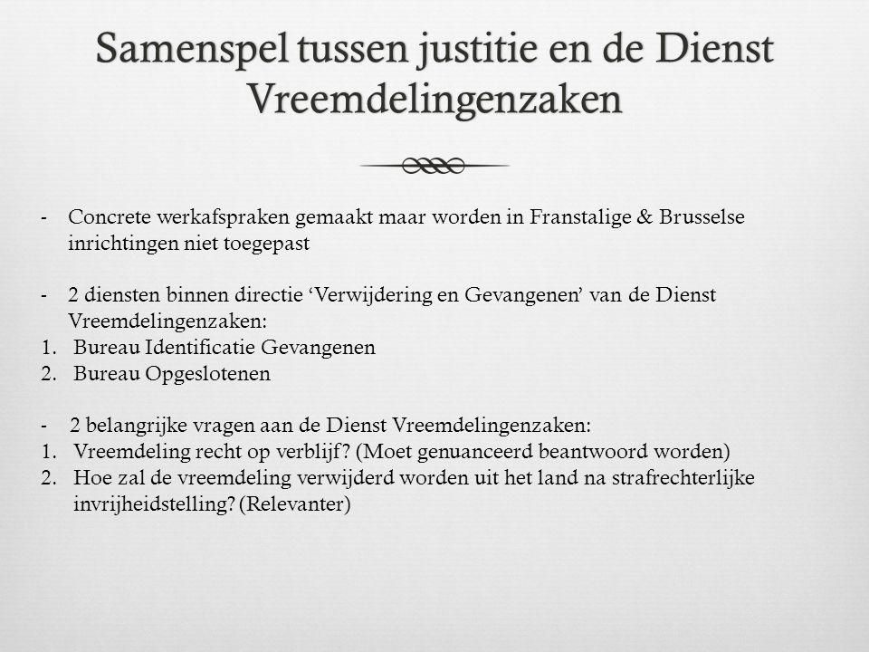Samenspel tussen justitie en de Dienst Vreemdelingenzaken -Concrete werkafspraken gemaakt maar worden in Franstalige & Brusselse inrichtingen niet toe