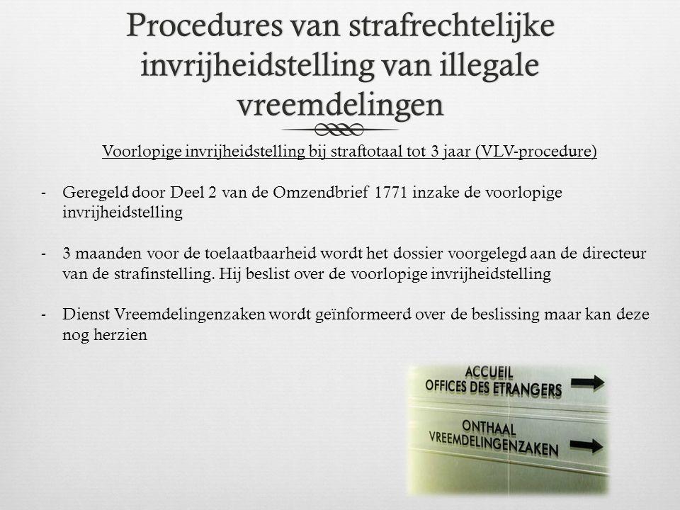 Procedures van strafrechtelijke invrijheidstelling van illegale vreemdelingen Voorlopige invrijheidstelling bij straftotaal tot 3 jaar (VLV-procedure)