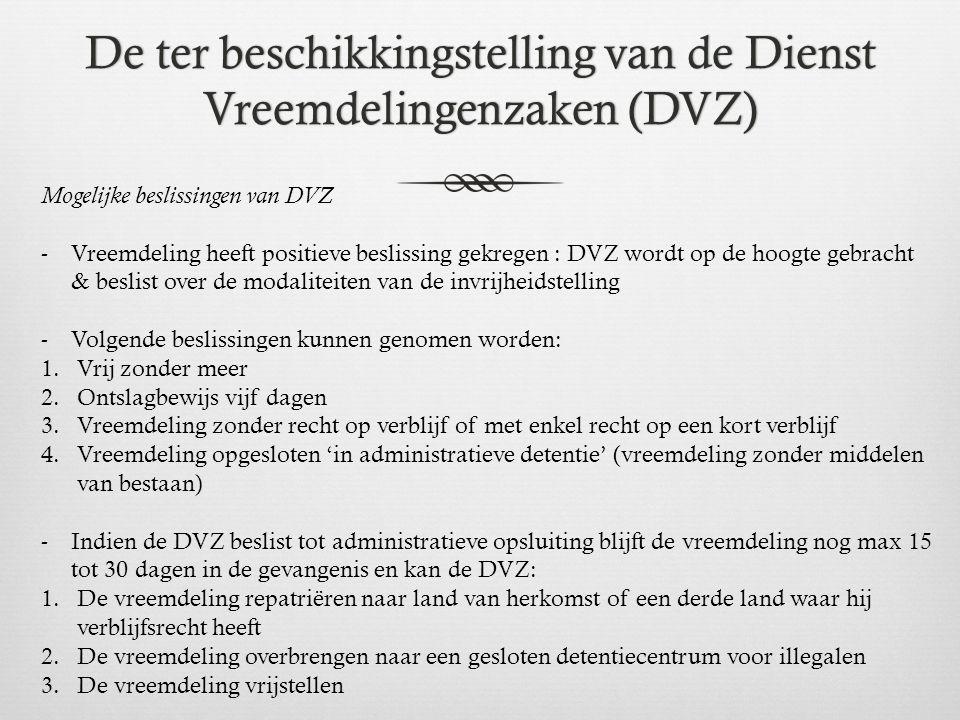De ter beschikkingstelling van de Dienst Vreemdelingenzaken (DVZ) Mogelijke beslissingen van DVZ -Vreemdeling heeft positieve beslissing gekregen : DV