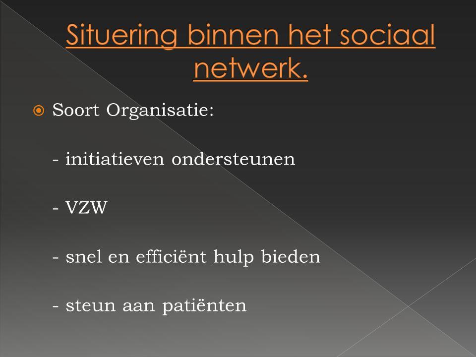 SSoort Organisatie: - initiatieven ondersteunen - VZW - snel en efficiënt hulp bieden - steun aan patiënten