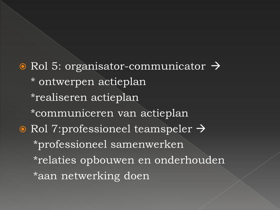 RRol 5: organisator-communicator  * ontwerpen actieplan *realiseren actieplan *communiceren van actieplan RRol 7:professioneel teamspeler  *prof