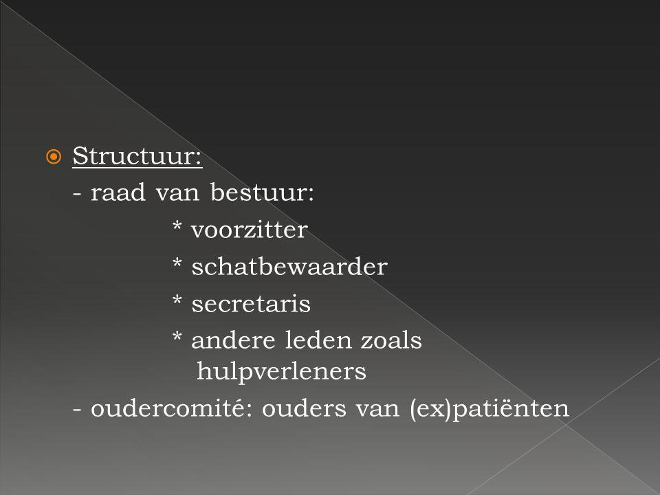 SStructuur: - raad van bestuur: * voorzitter * schatbewaarder * secretaris * andere leden zoals hulpverleners - oudercomité: ouders van (ex)patiënte