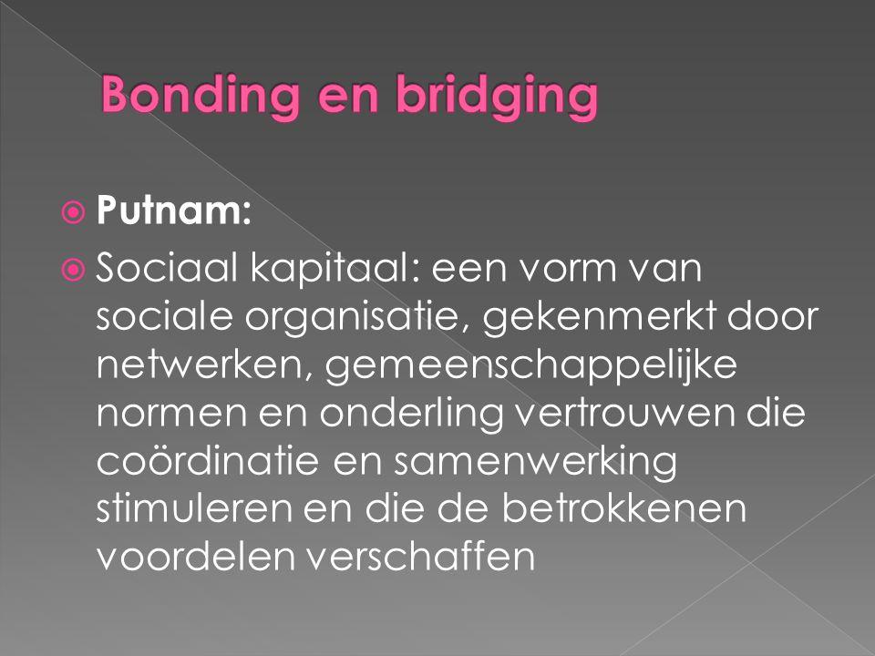  Putnam:  Sociaal kapitaal: een vorm van sociale organisatie, gekenmerkt door netwerken, gemeenschappelijke normen en onderling vertrouwen die coördinatie en samenwerking stimuleren en die de betrokkenen voordelen verschaffen