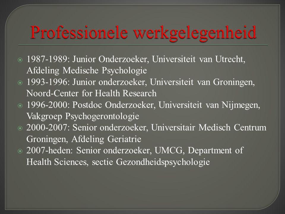 1987-1989: Junior Onderzoeker, Universiteit van Utrecht, Afdeling Medische Psychologie  1993-1996: Junior onderzoeker, Universiteit van Groningen,