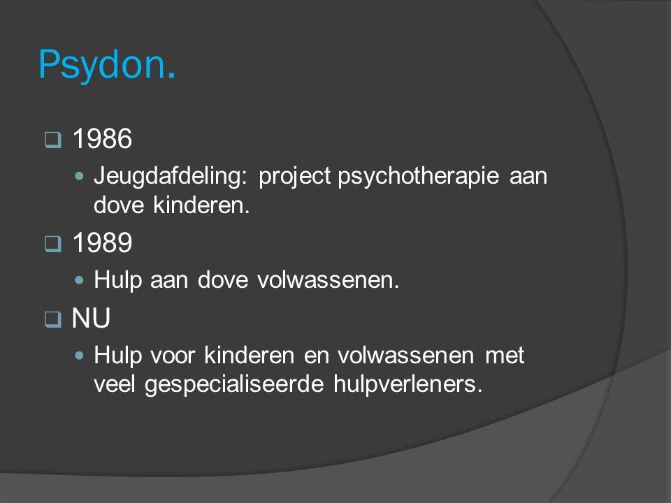 Psydon. 1986 Jeugdafdeling: project psychotherapie aan dove kinderen.